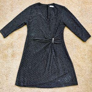 Calvin Klein Black Sparkle Longsleeve Dress 2x